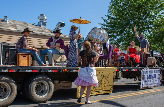 The Brewstation Public House float rolls through the parade on a mobile saloon. The Bohemian Mining Days parade kicked off a weekend of celebration and heritage in Cottage Grove on Saturday. More than 30 groups paraded down the Main Street of Cottage Grove as crowds gathered to see the show.