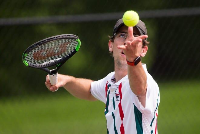 Marius Dornhagen Schradermeier plays against Preston Engel, not pictured, in the A-Division finals during the Freeport City Tennis Tournament at Read Park Saturday, July 17, 2021, in Freeport.