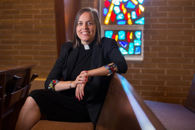 The Rev. Violet Johnicker has been named associate director of Rockford Urban Ministries. She'll be working closely with Executive Director Stanley Campbell. Johnicker is shown in the sanctuary of Brooke Road United Methodist Church on Saturday, July 17, 2021, in Rockford.