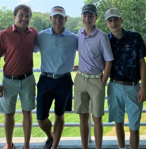 Some members of the Killingly golf program who competed in this year's Norwich Invitational include, from left, alum Connor Fillmore, Killingly AD and golf coach Kevin Marcoux, and rising juniors Harrison Giambattista and Cameron Seiffert.