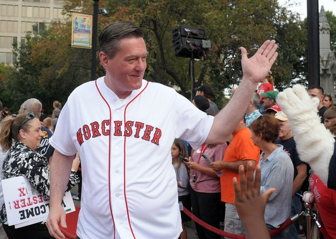 City Manager Edward M. Augustus Jr., shown here in September 2018 on Worcester Common, remains excited about the Worcester Red Sox.