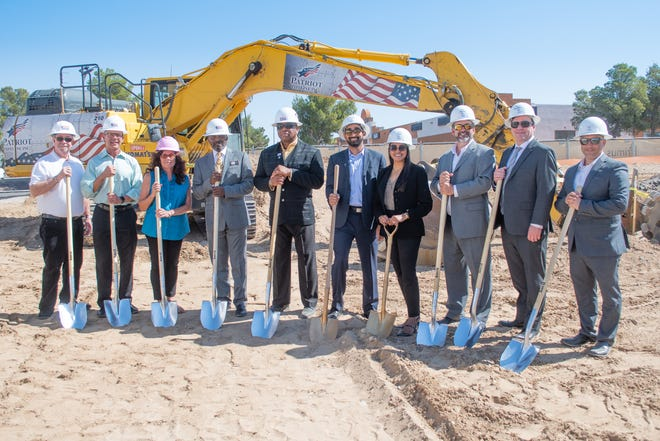 A groundbreaking ceremony is held for a dual-branded Marriott hotel in Barstow on July 7, 2021, with attendees including interim City Manager Jim Hart, Mayor Paul Courtney and the executives of Hotel Investment Group.
