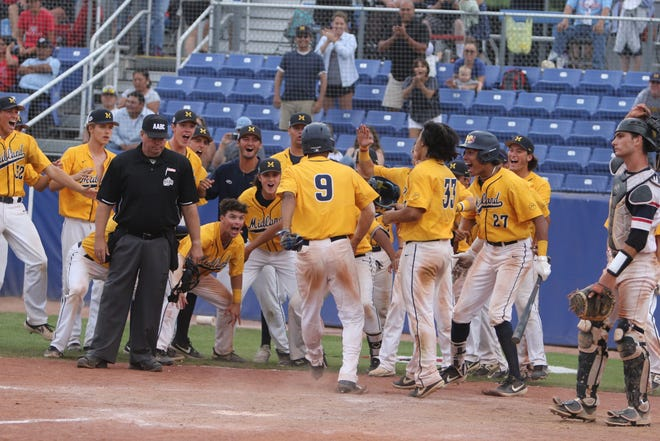 The Midland baseball team greets Andrew Pinckney (9) after Pinckney hit a two-run home run against the Southern California Renegades during the Connie Mack World Series finals at Ricketts Park in Farmington on Aug. 3, 2019.