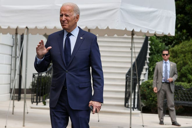 U.S. President Joe Biden departs the White House on July 16, 2021 in Washington, DC. Biden is spending the weekend at Camp David. (Chip Somodevilla/Getty Images/TNS)