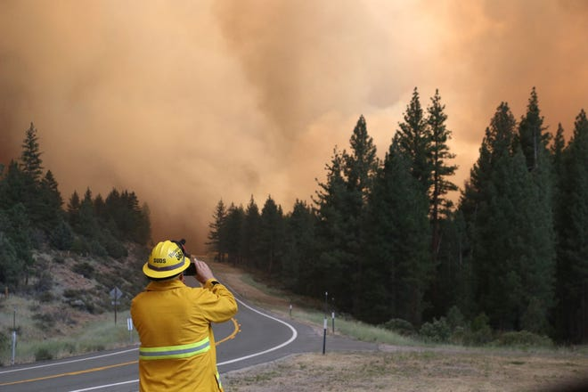 The Tamarack Fire burns along Highway 89 just north of Markleeville in Alpine County, California on July 17, 2021.