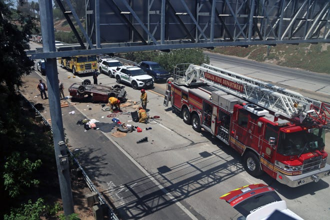 The Visalia Fire Department responded to reports of a solo-vehicle rollover on Highway 198 near the Ben Maddox off-ramp at around 12:20 p.m. Saturday.