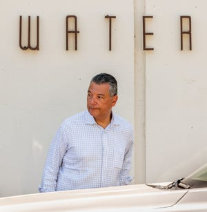 U.S. Senator Alex Padilla (D-Calif.) leaves the Dos Palos Water Treatment Plant on Friday, July 16, 2021. He and Congressman Jim Costa (Calif.-16) toured Central Valley farms and water infrastructure facilities as part of Padilla's statewide Infrastructure Listening Tour. Both joined local and state leaders on a tour of the Dos Palos water treatment plant after declaring their support for the City's new water system scheduled to break ground later this year and for the repairs needed to maintain the valley's antiquated water infrastructure until improvements can be made.