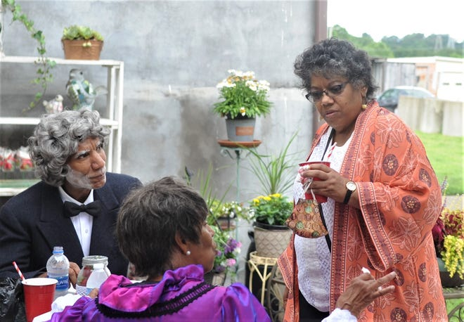 Victoria Robinson, the great-great-great granddaughter of Nelson T. Gant, speaks with James McDonald, who was portraying Gant, and Dr. Anita Jackson, who played Anna Marie Gant, on Saturday. The Gant Foundation celebrated 20 years of existence and Gant's 200th birthday.