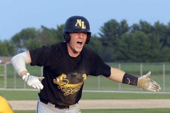 New London's Ryan Richey yells at the New London bench after hitting a triple against Sigourney during the Class 1A District 9 final at New London on Saturday.