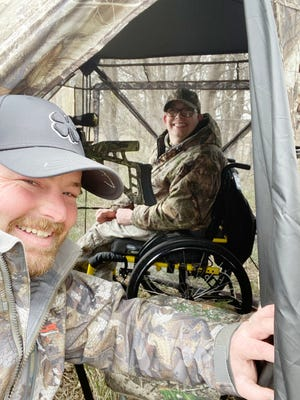 Stanton Kelley and Lance Tebben on a turkey hunt last fall at the Watson Hunting Camp.