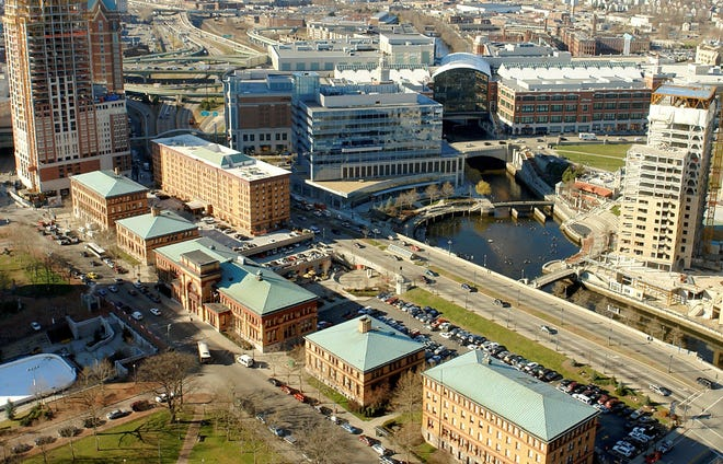 An aerial view of the buildings along Exchange Terrace, in foreground, centered by the former main terminal of the Providence train station, now owned by the Rhode Island Foundation.