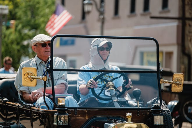 People arrive for the annual New Philadelphia Model T Ford Show, Sunday, July 18, 2021.