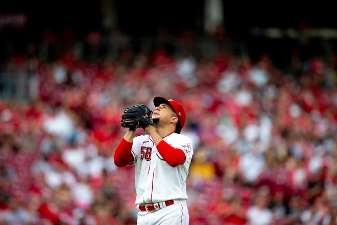 Cincinnati Reds starting pitcher Luis Castillo (58) reacts to the final out of the top of the second inning of the MLB baseball game between Cincinnati Reds and Milwaukee Brewers on Saturday, July 17, 2021, at Great American Ball Park.