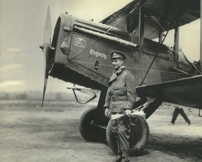Gen. Billy Mitchell poses with his De Havilland DH-4B bomber at Milwaukee's old Butler Airport, now the northwest end of the Currie Park golf course in Wauwatosa, in May 1922. Mitchell flew the bomber, nicknamed the Osprey, during the 1921 bomb tests, which included the sinking of the captured German battleship Ostfriesland.