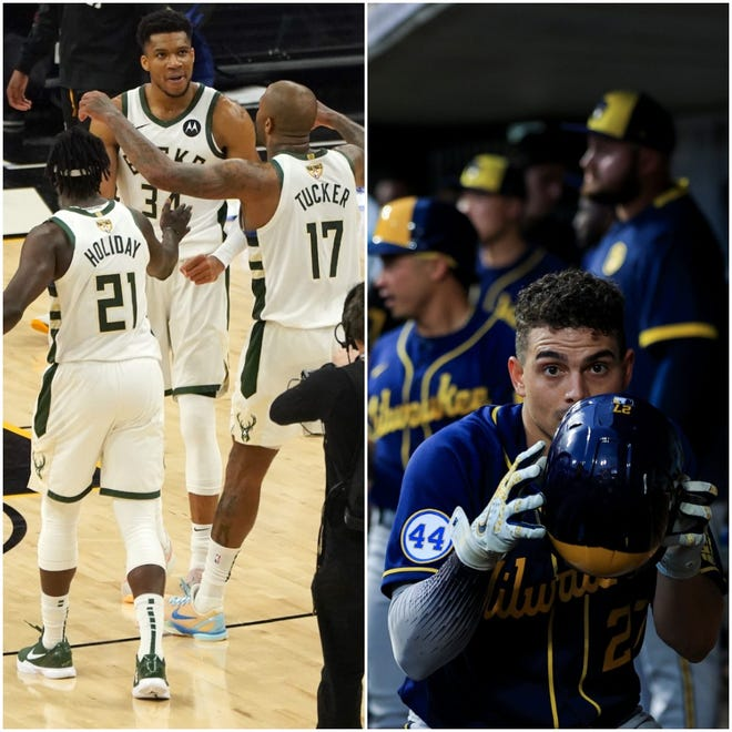 Giannis Antetokounmpo, Jrue Holiday and P.J. Tucker won a mammoth Game 5 on Saturday, and Willy Adames and the Brewers swept a major clash with Cincinnati.