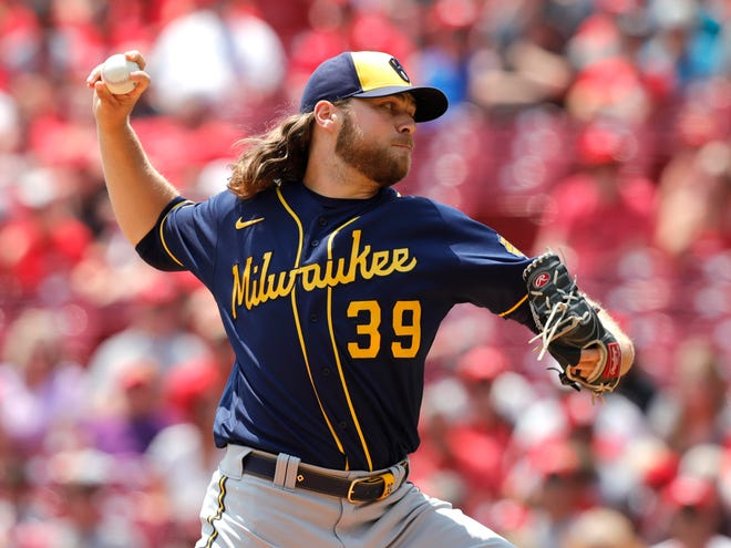 Brewers starting pitcher Corbin Burnes struck out 12 Reds in 8⅓ innings Sunday at Great American Ball Park.