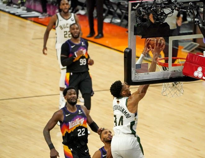 Giannis Antetokounmpo and the Milwaukee Bucks are looking to slam the door on the Phoenix Suns Tuesday night.