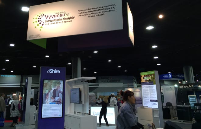 A display for the drug Vyvanse at the American Psychiatric Association annual meeting in Atlanta in 2016. Vyvanse is approved to treat adult ADHD and binge-eating disorder.