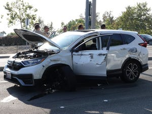 Sheriff's deputies arrested the driver of this stolen Honda CRV on Saturday evening after a 20-minute chase ended with the vehicle crashing into a center median on Carmen Drive in Camarillo.