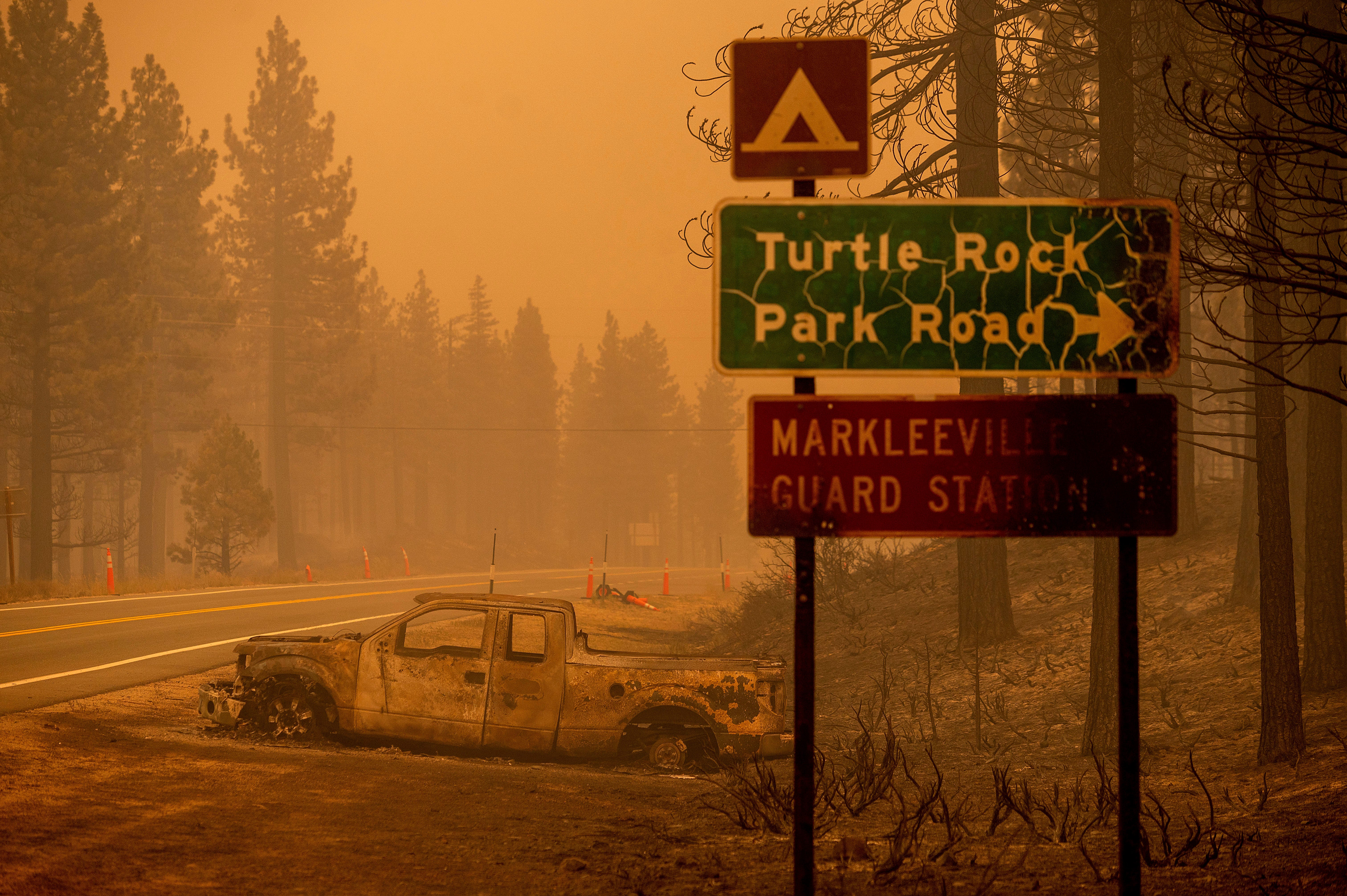 Wildfire explodes near Lake Tahoe, forcing hundreds to flee; critically dangerous fire weather expected through Monday
