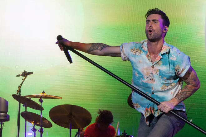 Adam Levine brings his pop juggernaut Maroon 5 to the Germania Insurance Amphitheater this week.