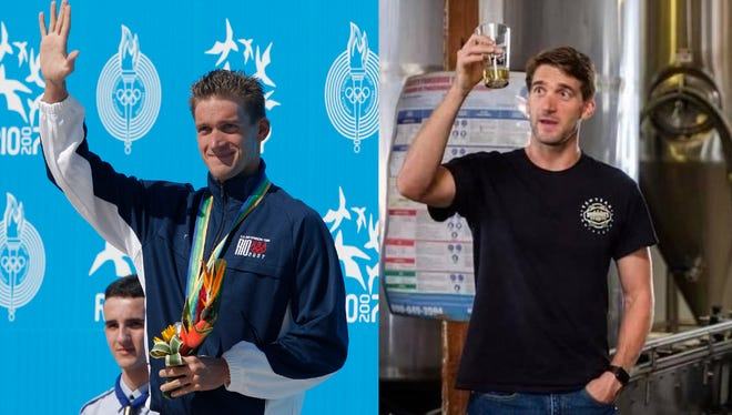 Former UGA swimmer Robert Margalis, who will be inducted into the school's Circle of Honor, found his passion for brewing beer much like his passion for swimming. (Photo at left courtesy of UGA Athletics. Right/Robert Margalis and Bootleggers Brewery)