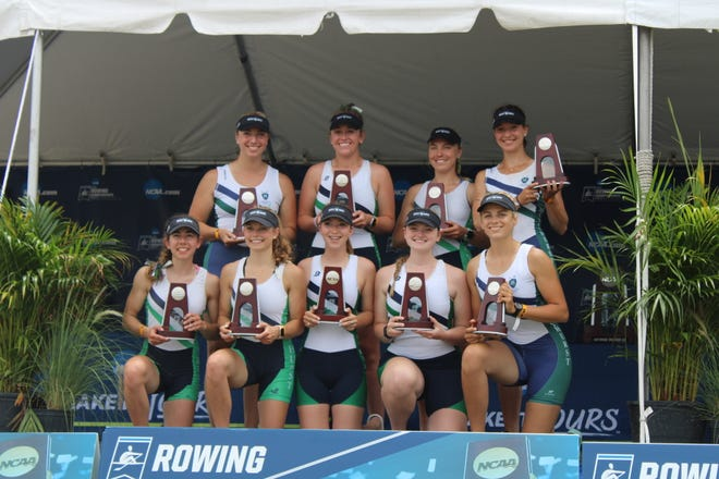 The Mercyhurst University women's rowing team eights rowers hold their trophies after finishing as runners-up in the NCAA Division II nationals on May 30, 2021 in Sarasota, Fla. Hudson native Elizabeth Northrup (back row, second from left) was in the eight-woman boat for the Lakers.
