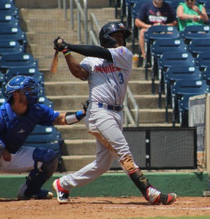 Amarillo's Luis Alejandro Basabe swings at a pitch against Amarillo in the top of the fourth inning Sunday at Momentum Bank Ballpark in Midland.