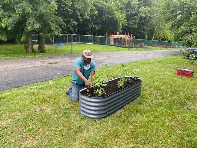 Workers recently installed a children's garden at Alliance Family YMCA through a grant.