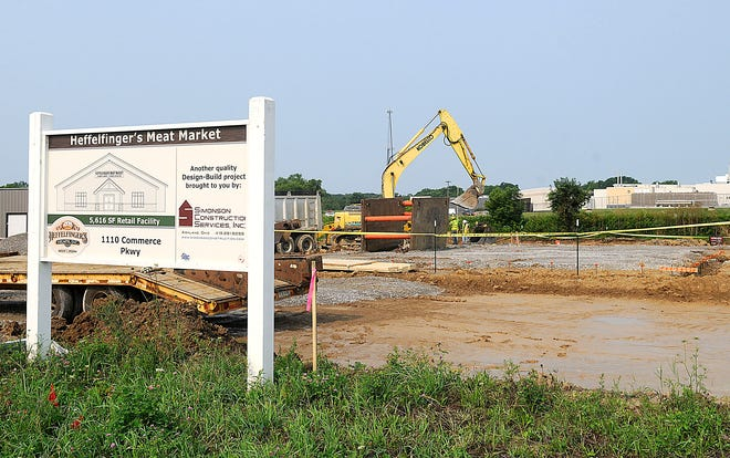 Construction on the new Heffelfinger's Meat Market, located at 1110 Commerce Parkway has begun and is seen here on Monday, July 19, 2021. TOM E. PUSKAR/TIMES-GAZETTE.COM