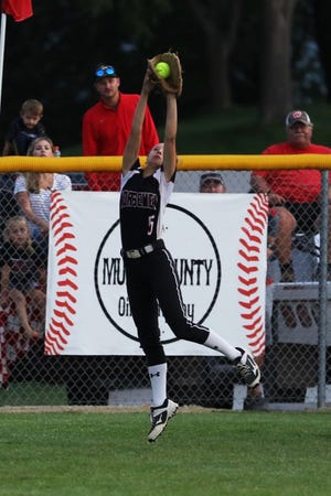 Roland-Story's Reagan Schmitz makes a catch in left field during the No. 13 Norse's 5-1 loss to No. 3 Williamsburg in the Class 3A regional softball final at Williamsburg July 12. Roland-Story ended the season with a 24-9 record.
