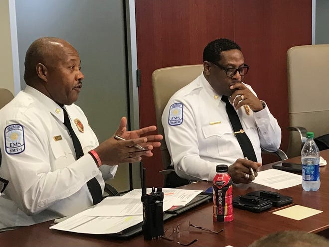Augusta Deputy Fire Chief Shaw Williams, left, describes ideal service requirements the city would seek from its EMS provider. A city EMS subcommittee approved a set of requirements Monday. At right is new city Fire Chief Antonio Burden.