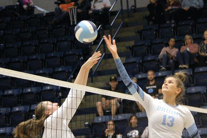 Mia Otten, right, is on target to be a fourth-year varsity standout for the Bartlesville High School girls volleyball program.