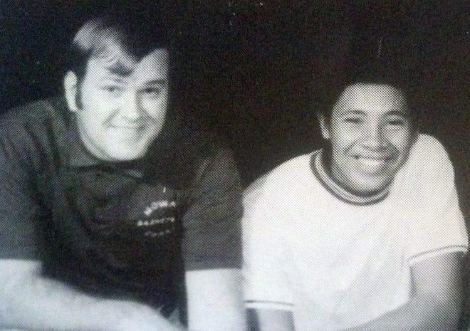 Nowata High School basketball coach Ken Zacher and 1970 team captain Dale Martin.