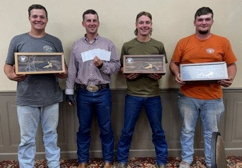 Dickinson Cattle Co. of Barnesville won high with every entry at the annual Ohio Texas Longhorn Show at Wooster on July 17. Pistol awards were won by Boiling Point, Cut'n Flair, and Jest Time. The show team, l to r, is Grant Tinkis, Doug Burris, Mason Burris and Brody Carpenter of Barnesville.