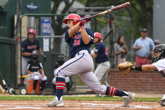 Harwich Mariners third baseman Brock Wilken drives an RBI single to left field in the first inning against the Chatham Anglers on Sunday at Veterans Field in Chatham.