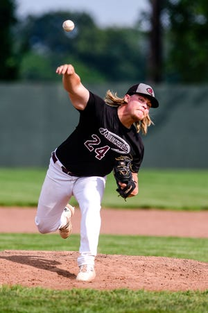 Pitcher Jake Young (Lisle, ill., Fairmont State U.) of the 2021 Chillicothe Mudcats delivers a first-inning pitch on his way to a very strong complete-game 4-hitter in a 4-2 home victory over the St. Joseph Mustangs Sunday, July 18.