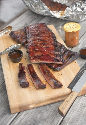 Dry-rub ribs from Ray Ray's Hog Pit.