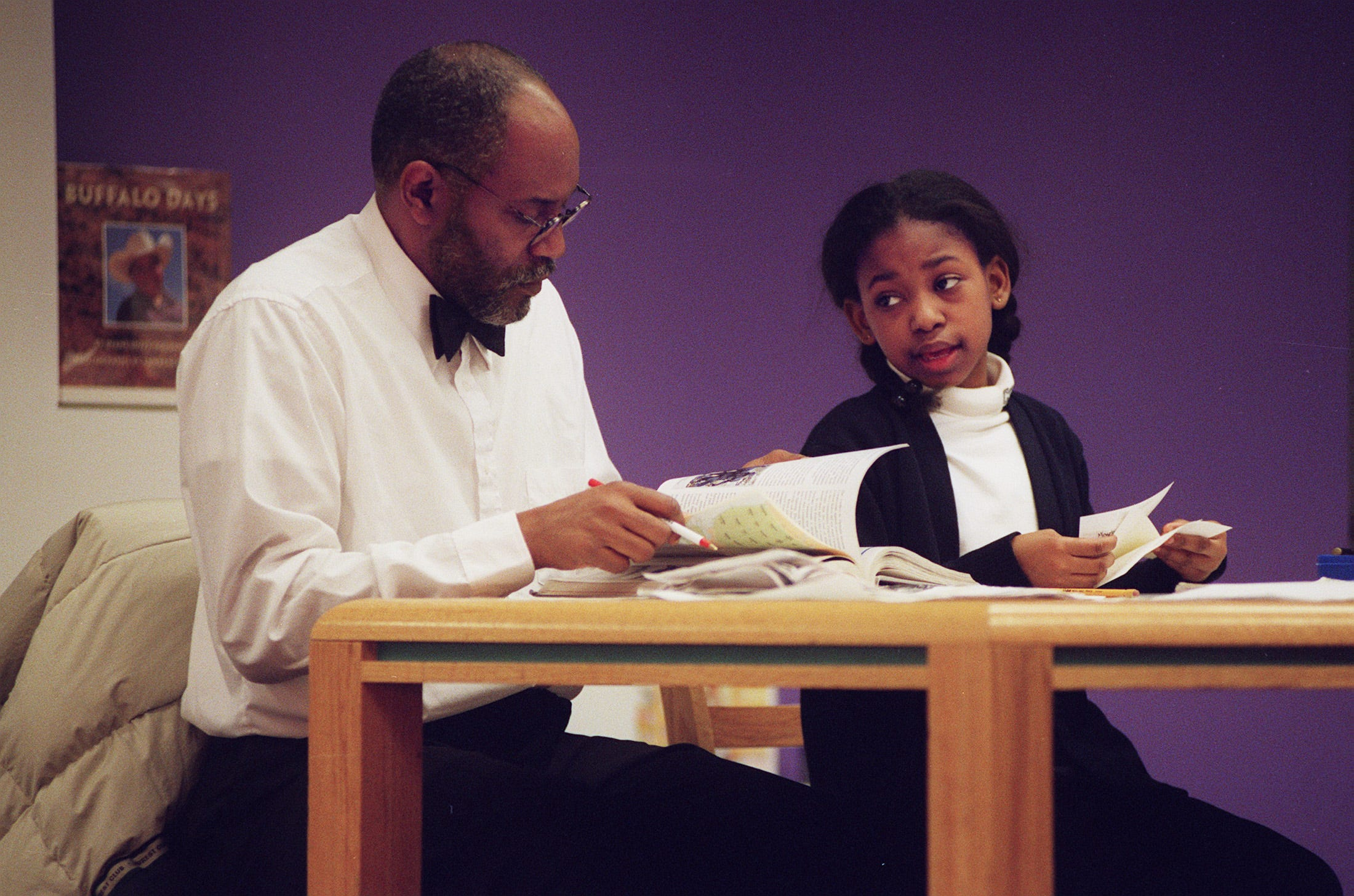 Olivia Nathan ,10, right, had a study partner in her dad, John Nathan, at the Center for Discovery of the Columbus Metropolitan Library in 1998.