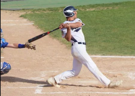 Ethan Boll gets a hit against Thief River Falls in the Section 8AA Tournament this past spring.