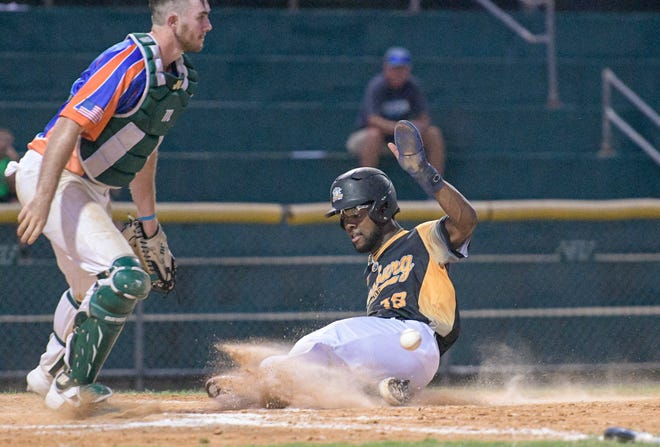 Leesburg's Jordan Griffin (18) slides home with a run in a game earlier this season against the Leesburg Lightning at Pat Thomas Stadium-Buddy Lowe Field. The Lightning begin the final week of the FCSL regular season just a game behind Sanford.. [PAUL RYAN / CORRESPONDENT]