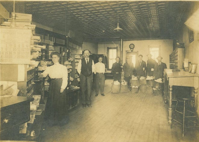 The Blissfield Post Office and its employees are seen in this 1912 photo. The Post Office Department was one of the first government agencies to hire women, and by the early 1900s 1 in 10 postal workers were women. In addition, about two-thirds of all civilians working for the government were employed by the Post Office Department.