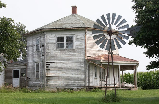 Age has taken its toll on the octagon house, which today is largely surrounded by cornfields.