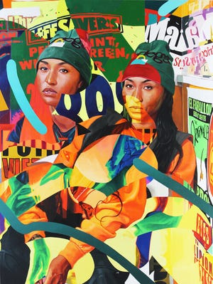 """This is a photo of the painting """"Lifesavers"""" by Miami, Florida-based artist Mwanel Pierre-Louis, who has been selected to create a mural for the basketball courts at Bayview Park in Erie."""
