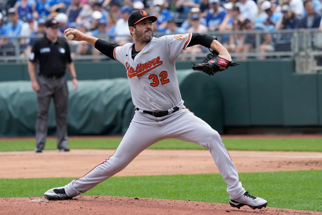 Baltimore Orioles starter Matt Harvey pitches to a Kansas City Royals batter during the first inning of Sunday's game at Kauffman Stadium. Harvey, a former Royal, shut down Kansas City with six scoreless innings in a 5-0 win.