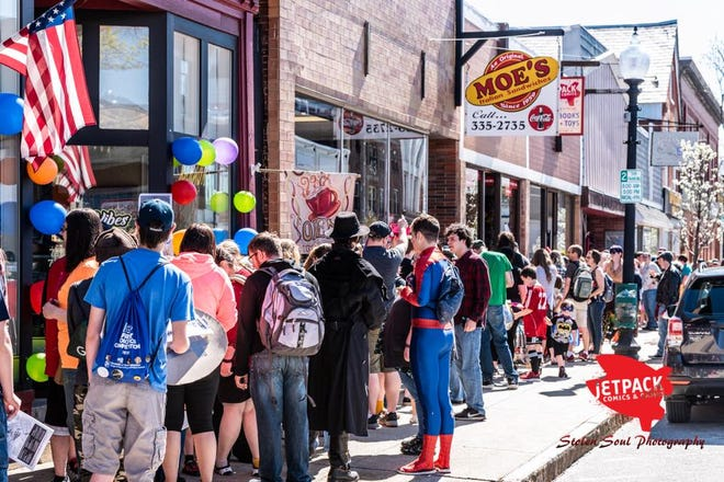 Crowds gather in downtown Rochester at a previous Free Comic Book Day hosted by Jetpack Comics & Games.