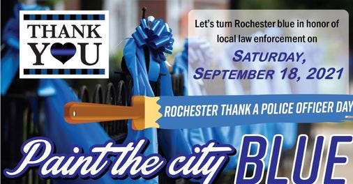 Rochester turns blue in honor of local law enforcement.