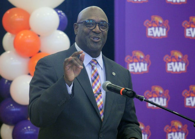 Edward Waters University athletic director Paul Bryant speaks during the school's NCAA Division II announcement on Monday.