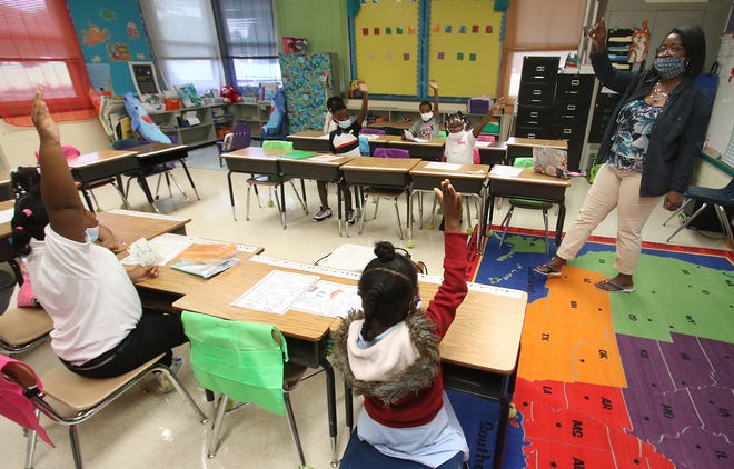 Sherry Hatcher instructs students in her first grade class early Monday morning, July 19, 2021, at Graham Elementary School on Blanton Street in Shelby.