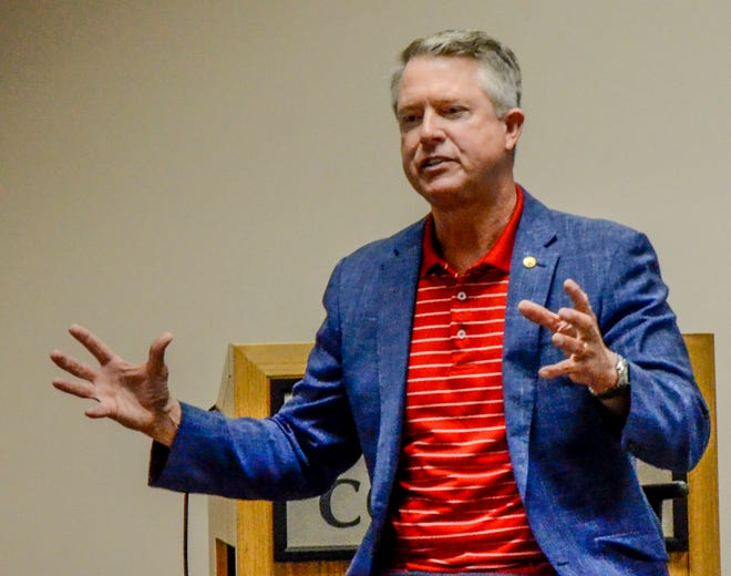 U.S. Sen. Roger Marshall answers an audience question at a town hall meeting Saturday at St. Catherine Hospital.